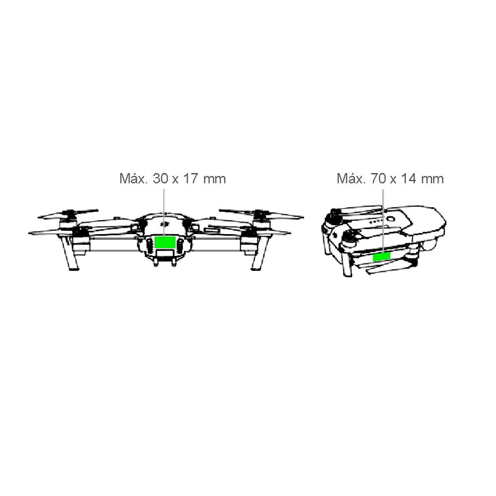 donde colocar la placa del dron DJI mavic pro